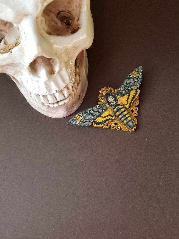 Deaths Head moth brooch, Death's head moth pin, gold accents, wood lasercut moth, Hawk moth, Death head moth jewelry, unique brooch