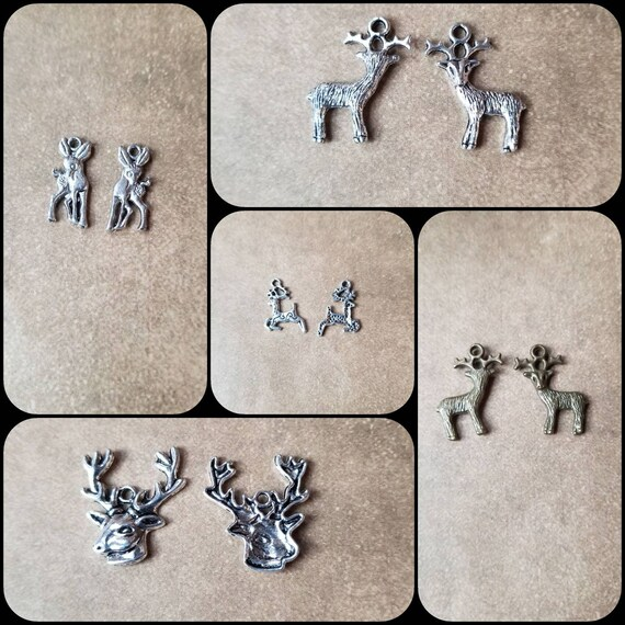 Destash charms, silver or bronze deer charms, stag head,  fawn, or buck deer charms, destash deer charms, destash stag charms, destash fawn