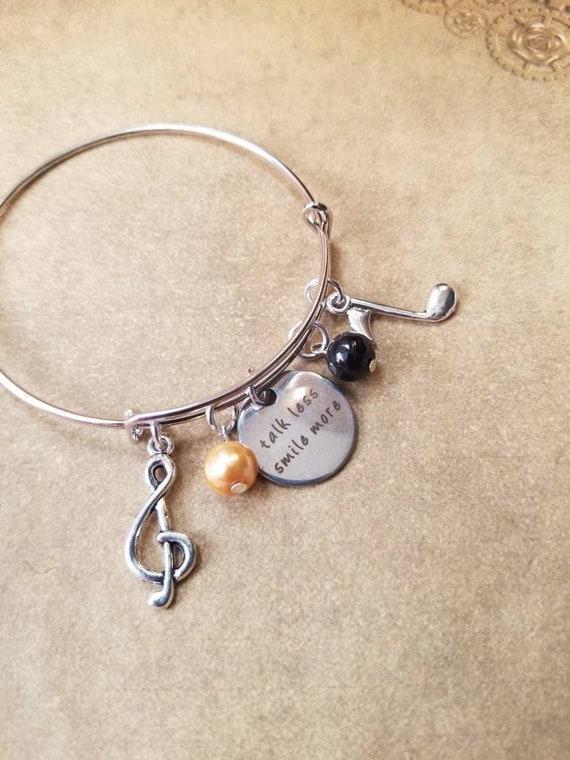 Hamilton bracelet, Hamilton charm bangle, gunmetal  bangle,  expandable bangle, charm bracelet, Hamilton charm bangle, Hamilton musical