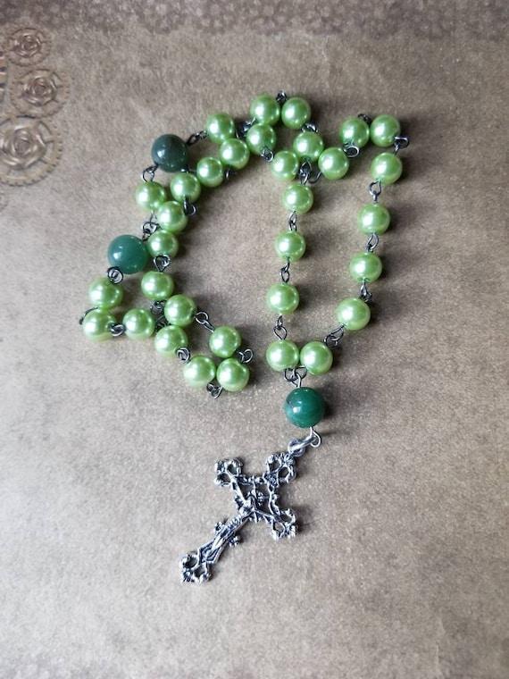 Orthodox Christian Chotki, prayer beads, gunmetal tone,  green glass pearls, Tree Agate beads, filigree design crucifix, Komboskini, ooak