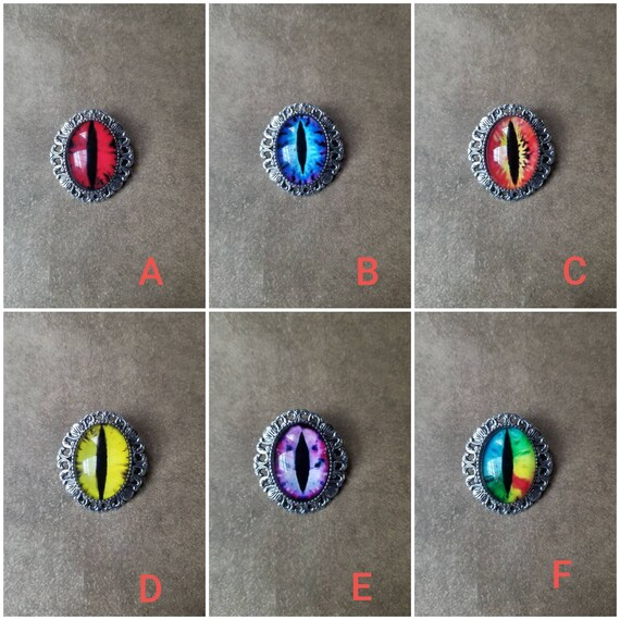 Dragon eye brooch, dragon eye pendant, dragon eye jewelry, glass eye cabochons, silver toned bezel frame, fantasy jewelry, LARP jewelry