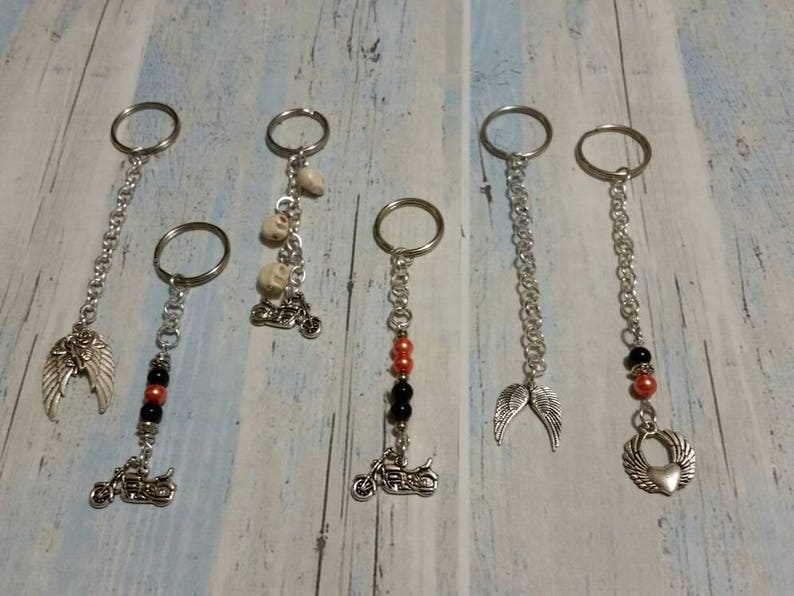 Keychain, silver toned, biker-themed charms and handmade beaded dangles,  Harley Davidson colors, skulls, keychains, key fob, key ring