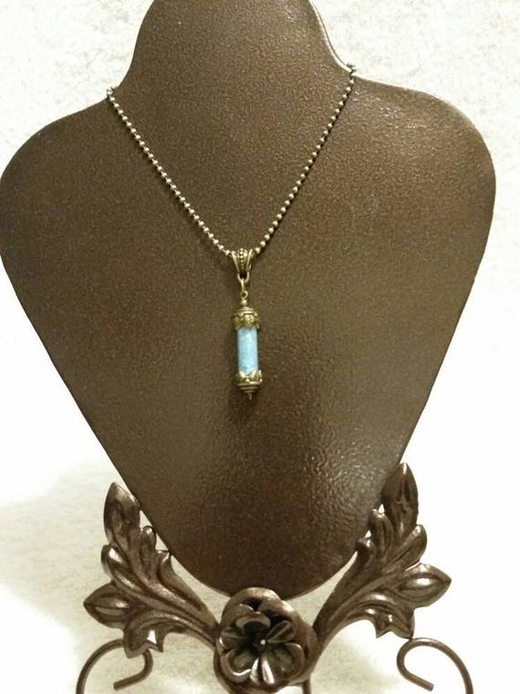 Bronze vial necklace, blue shell pendant, bronze vial with blue Mother of pearl chips, bail, chain, captured sky, fairy tears
