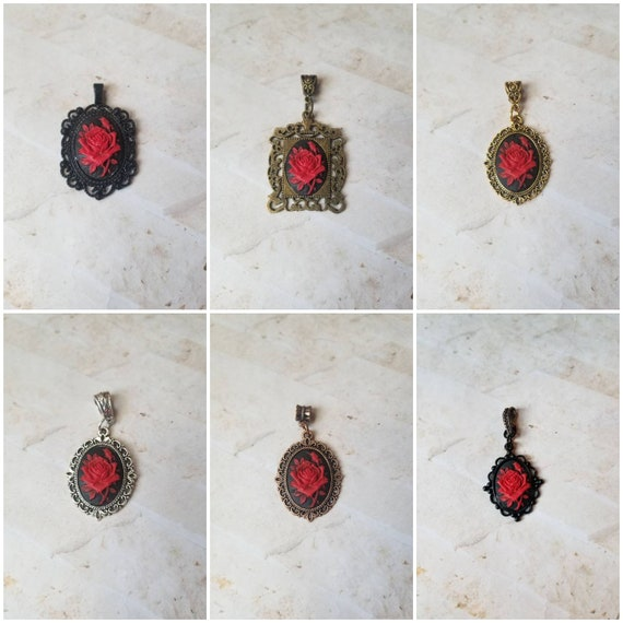Rose cameo pendant, rose cameo necklace, red rose cameo, Goth cameo necklace, red rose cameo pendant, floral cameo pendant, cameo jewelry