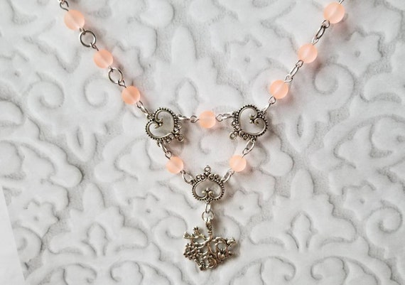 Cimaruta necklace, Cimaruta jewelry, Italian witches amulet, stainless steel pins, pastel peach sea glass, silver toned heart connectors