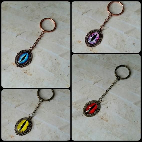 Dragon eye keychains, keychain, key fob, key ring, copper and bronze, glass eye cabochon, bright colors, sturdy keychain, eye keychains
