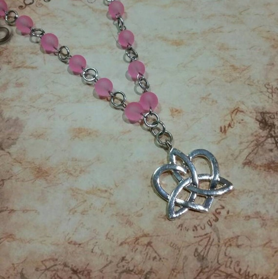 Sea glass day collar, pink sea glass  beads, discreet day collar, symbolic jewelry, BDSM collar, submissive collar, silver, infinite heart