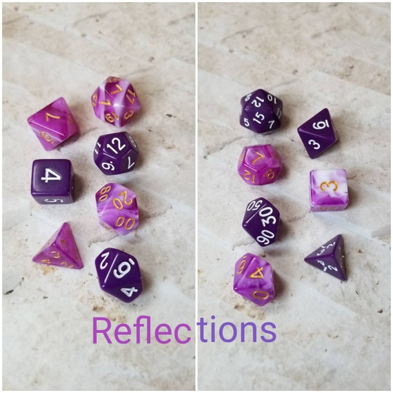 Reflections dnd dice, purple and white curated dice set, polyhedral dice, DnD dice set, gaming dice, set of 7 dice, hand picked sets, 16mm