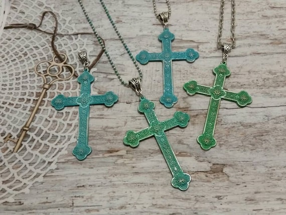 Patinaed silver crosses, hand painted cross pendant, verdigris cross, cross necklace, religious jewelry, crucifix pendant, large crosses