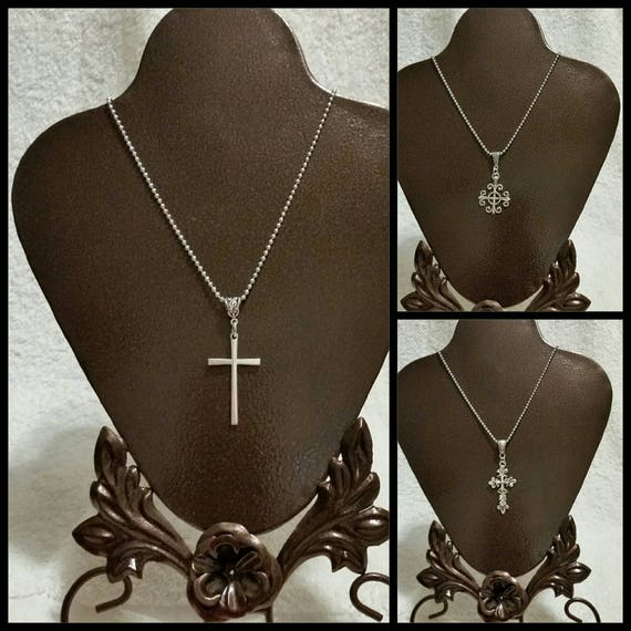 Cross pendant necklace with fancy bail and chain, choice of three styles, silver-toned metal, religious