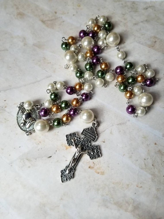 Mardi Gras rosary, Catholic rosary, five decade rosary, stainless steel, glass pearls, praying hands center, Pardon crucifix, Fat Tuesday
