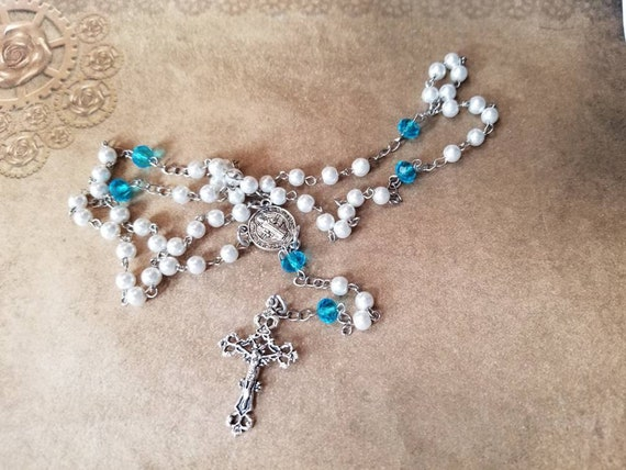 Five decade rosary, silver toned, white and blue, Saint Benedict center, religious, Catholic rosary, prayer beads, prayer aid, hand-wired
