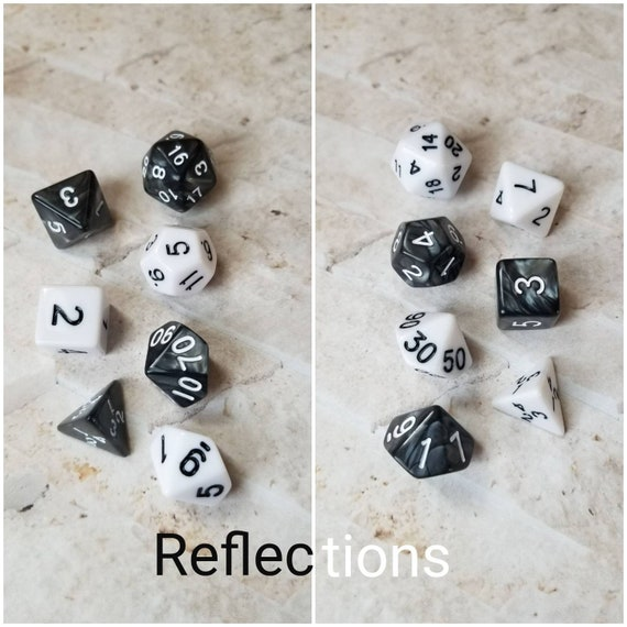 Reflections dnd dice, black and white curated dice set, polyhedral dice, DnD dice set, gaming dice, set of 7 dice, hand picked sets, 16mm