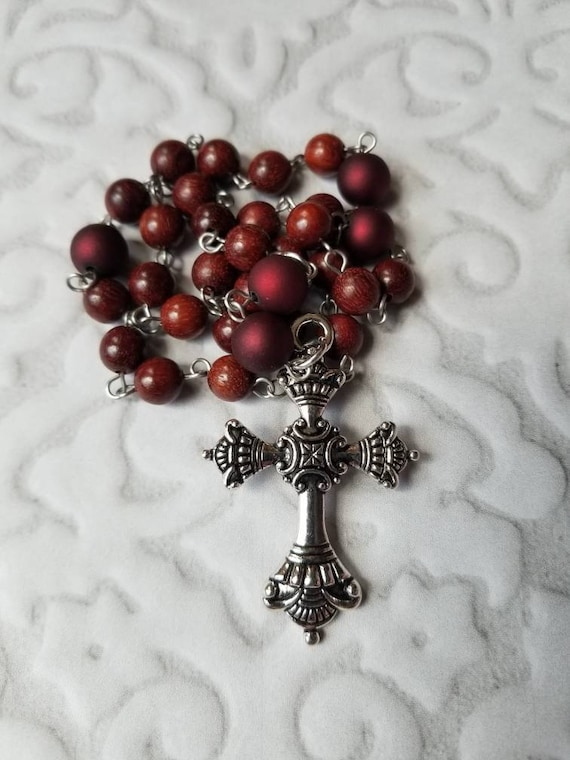 Anglican prayer beads, Episcopal rosary, Protestant prayer beads, Sandalwood beads, stainless pins, red satin matte glass beads