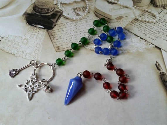 Pagan prayer beads, Yule prayer beads, witches prayer beads, stainless steel, sea glass beads, blue Agate pendulum, witches knot, cauldron