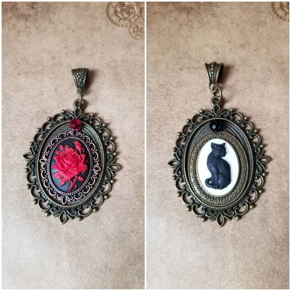 Black cat pendant, cat pendant, red rose cameo, Goth jewelry, black cat jewelry, Witches familiar, Belle's rose, bronze bezels, Czech glass