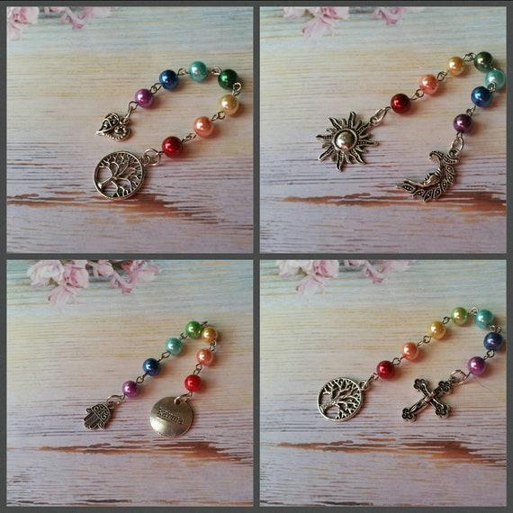 Unitarian Universalist prayer beads, 7 Principles of UU, prayer aid, rainbow prayer strand, UU chaplet, chakra colors, chakra healing, 8mm