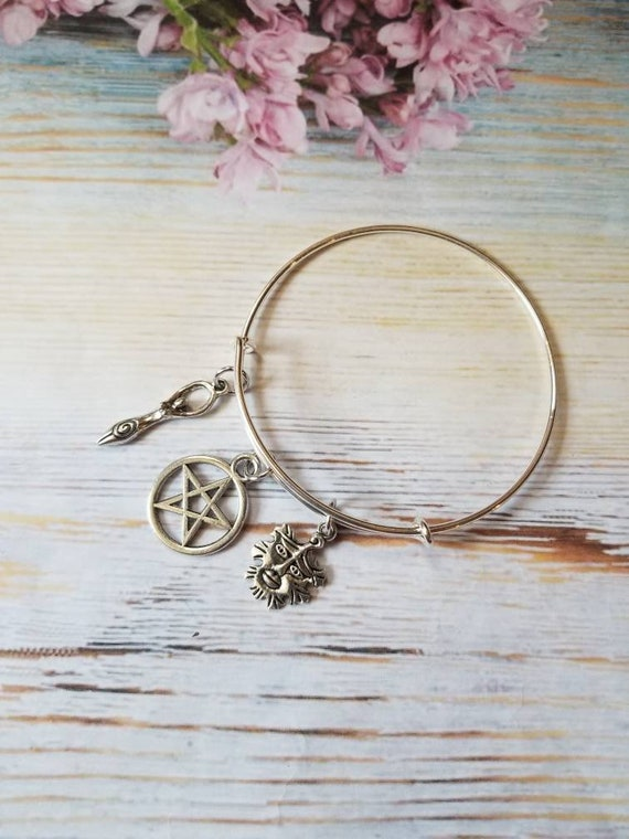 Wiccan bracelet, Pagan bracelet, Goddess, Nature religion bangle, silver metal  bangle, expandable bangle, charm bangle, witch jewelry