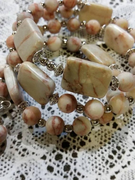 Lutheran rosary bracelet, Lutheran prayer bracelet, memory wire bracelet, wrap bracelet, gemstone beads, Redline Marble beads, filigree
