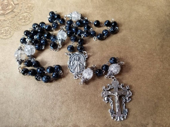 Five decade rosary, silver tone,  black and clear glass beads, Italian-made center connector and crucifix, religious, Catholic rosary