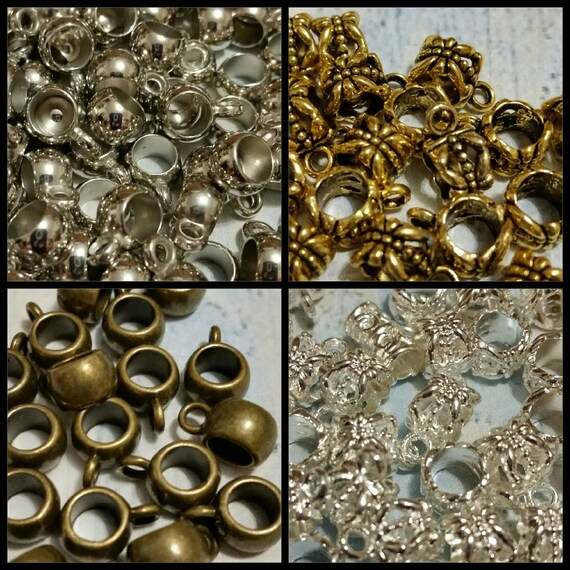Destash, bails, bright or antique silver, bronze or gold toned metal or acrylic jewelry bails in two styles x 20, choice of four