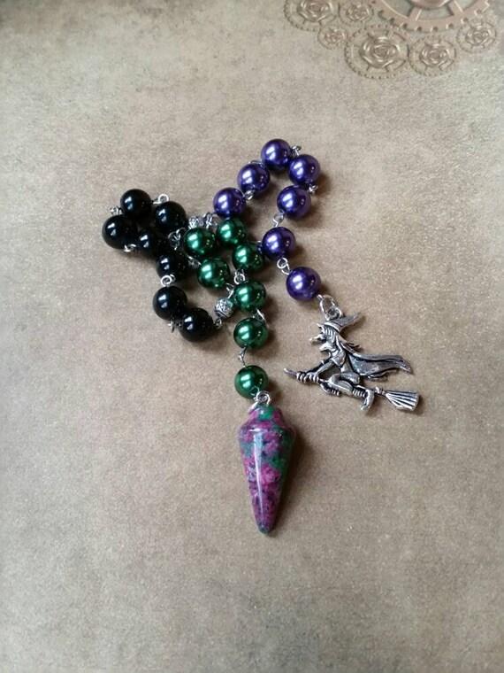 Samhain prayer beads, pagan prayer beads, Samhain witches prayer beads, stainless steel, glass pearls, gemstone pendulum, witch on broom