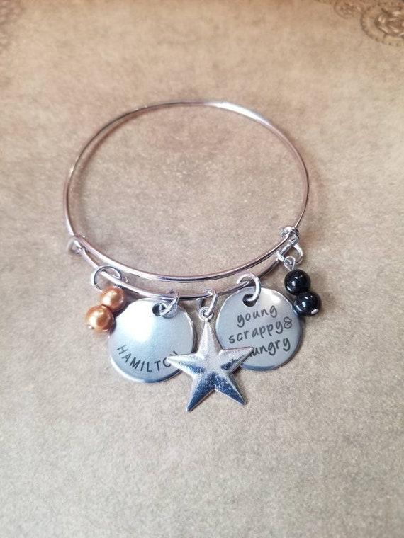 Hamilton bracelet, Hamilton charm bangle, silver metal bangle,  expandable bangle, charm bracelet, Hamilton charm bangle, Hamilton quote