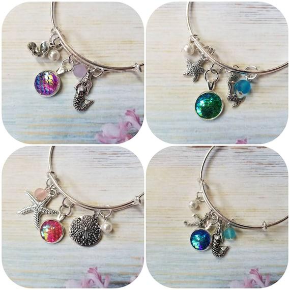 Mermaid bangle,  mermaid scale bracelet, silver metal bangle, charm bracelet, charm bangle, expandable bangle, sea glass jewelry, nautical