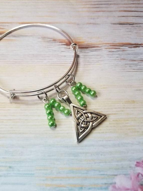 St Patrick's day bracelet, St Patrick's charm bracelet, expandable bangle, silver bangle, charm bangle, Triquetra bangle, Celtic bangle