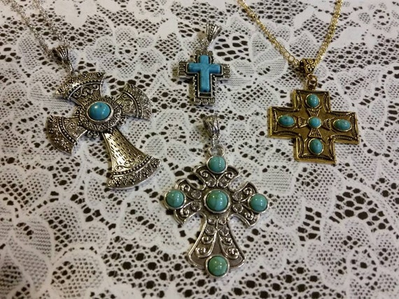 Southwestern style cross, silver metal cross, gold metal cross, turquoise blue stones, Howlite turquoise, large cross pendant, SW cross