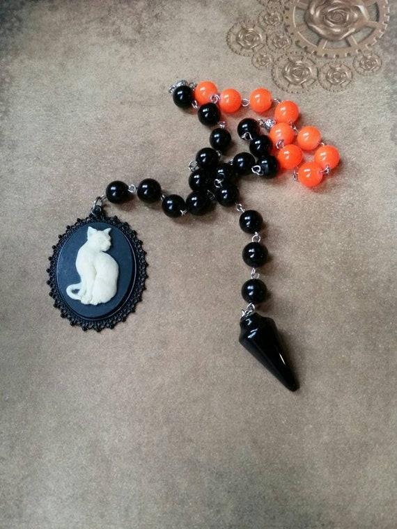 Samhain prayer beads, pagan prayer beads, Samhain witches prayer beads, stainless steel, Malay jade, Black Onyx pendulum, cat cameo