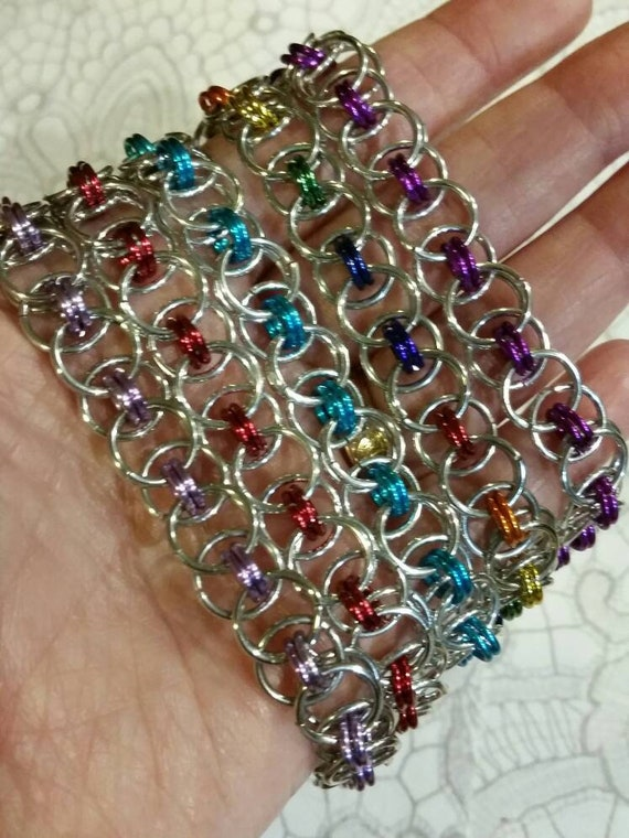 Chain maille bracelet, Helm's or Parallel weave, Helms weave bracelet, silver, colors, Helm Weave chainmaille bracelet, Custom chain maille
