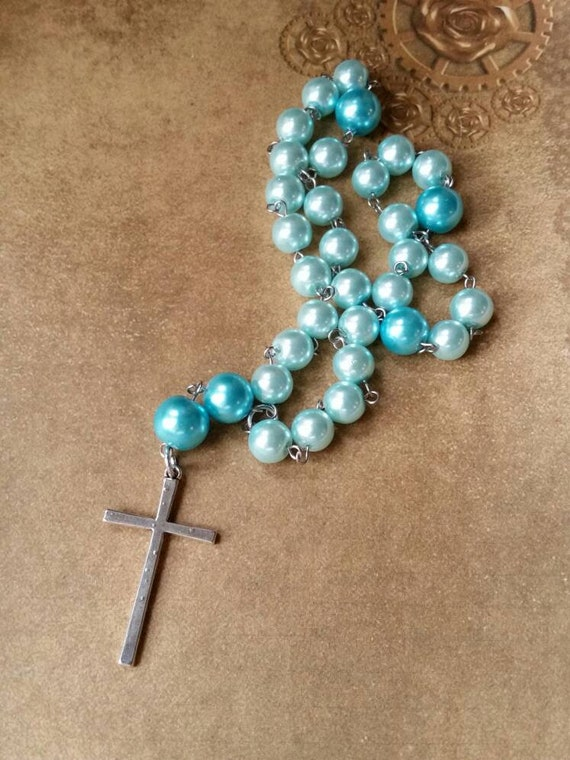 Anglican prayer beads, Methodist rosary, Protestant prayer beads, Episcopal rosary, stainless steel, Winter prayer beads, glass pearls