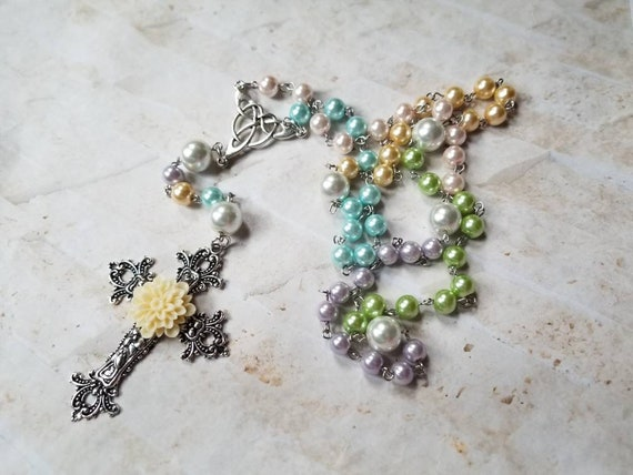 Easter rosary, Catholic rosary, five decade rosary, stainless steel, glass pearls, pastel colors, huge ornate cross, ivory Dahlia, Spring