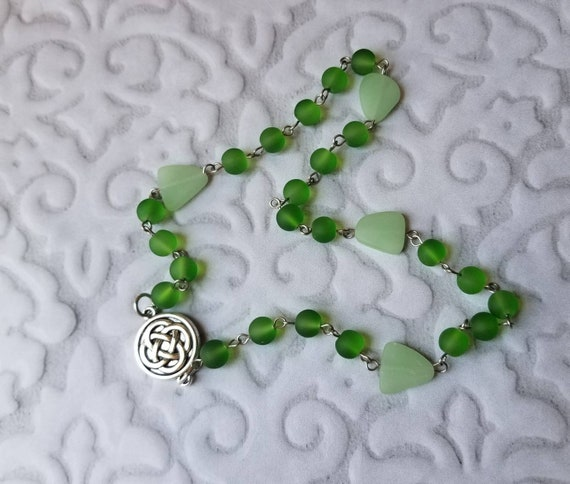 UU Prayer beads, Unitarian universalist prayer beads, stainless steel, hand wired, green sea glass, recycled glass, Celtic knot connector