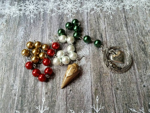 Pagan prayer beads, Yule prayer beads, witches prayer beads, stainless steel, glass pearls, Picture Jasper, crescent moon, Blessed Be charm
