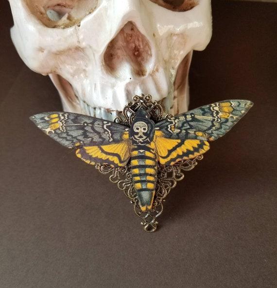 Deaths Head moth brooch, Death's head moth pin, bronze  accents, wood lasercut moth, Hawk moth, Death head moth jewelry, unique brooch