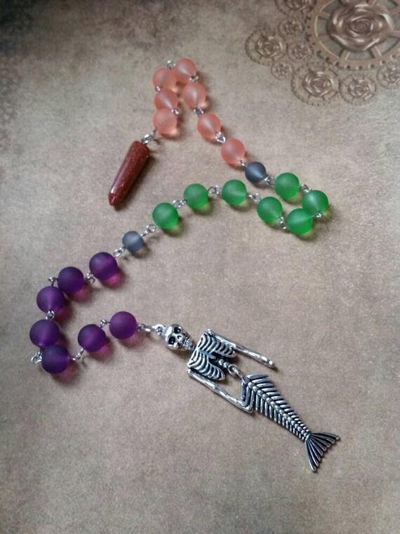 Samhain prayer beads, pagan prayer beads, Samhain witches prayer beads, stainless steel, sea glass, Goldstone pendulum, mermaid skeleton