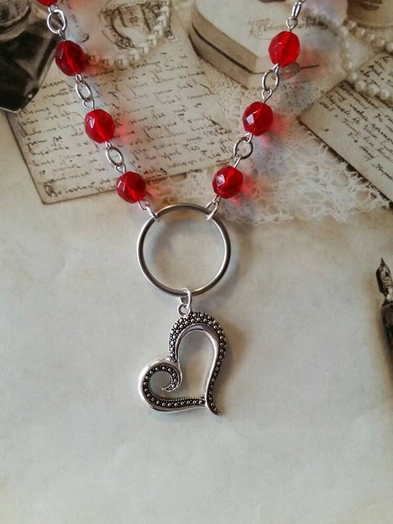 Heart day collar, red Czech  glass beads, discreet day collar, symbolic jewelry, BDSM collar, submissive collar, silver o ring, heart charm