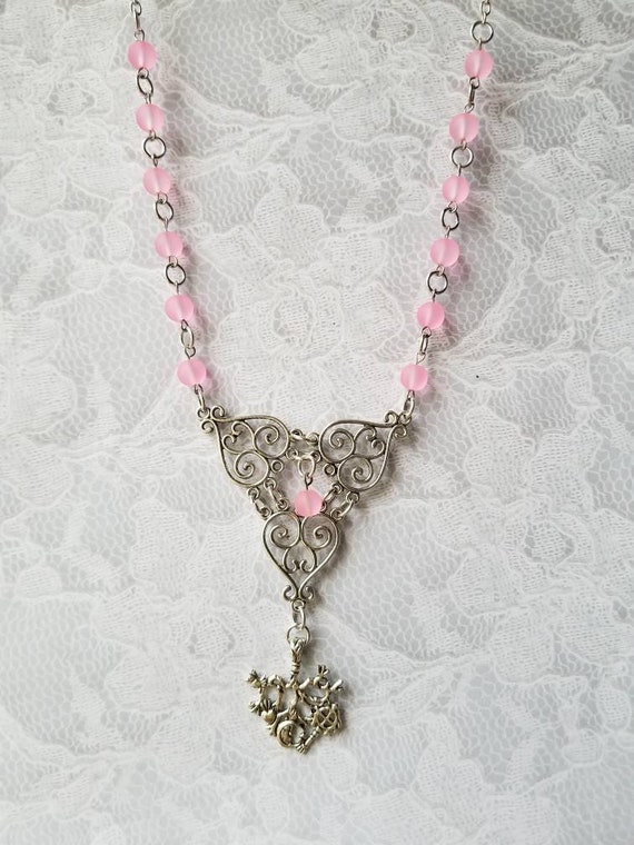 Cimaruta necklace, Cimaruta jewelry, Italian witches amulet, stainless steel pins, pink frosted glass, silver textured heart connectors