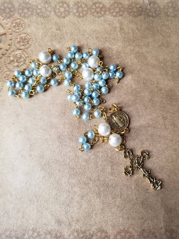 Five decade rosary, blue glass pearls, gold toned, white glass pearls, St Benedict center,  filigree crucifix, Catholic rosary, OOAK