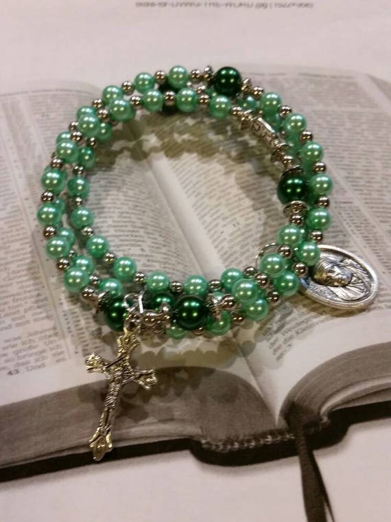 Rosary bracelet, five decade Catholic memory wire wrap bracelet, green glass pearls, silver, St. Mother Teresa  medal, rosary bracelet