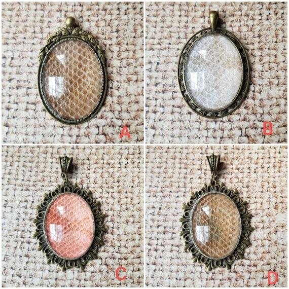 Snake shed jewelry, snake shed pendant, snakeskin necklace, cruelty free snake sheds, Ball python shed, Ball Python pendant