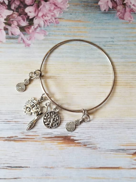 Earth religion bangle, Wiccan bangle, pagan bracelet, Goddess charm bracelet, silver metal bangle, expandable bangle, charm bracelet