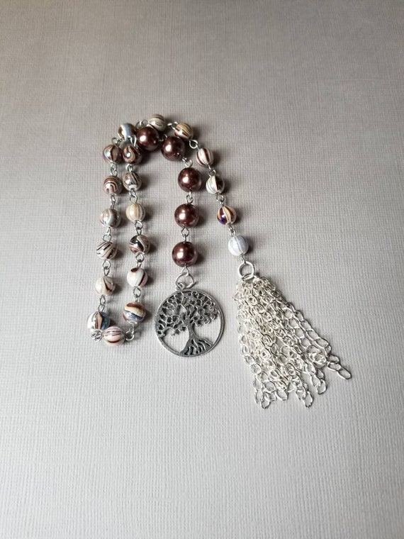 Baha'i prayer beads, 19 and 5 prayer beads, brown glass beads, glass pearls, hand-wired, tassel, tree of life charm, stainless steel pins