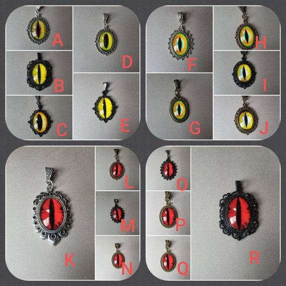 Dragon eye pendant, dragon eye necklace, cat eye jewelry, demon eye pendant, eye pendant, fantasy necklace, LARP jewelry, red or yellow eyes