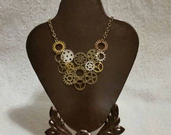 Steampunk necklace, Steampunk gear jewelry, mixed metals, large bib gear necklace, Industrial Chic, Geek jewelry, OOAK, handmade, steampunk