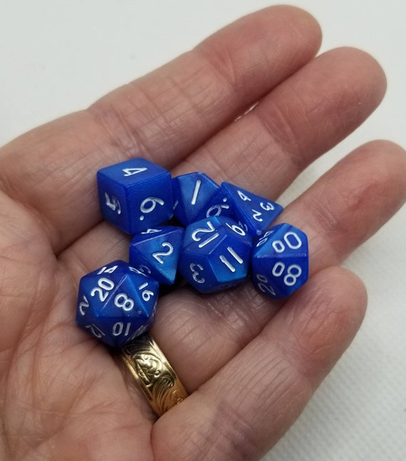 Pearly blue and white mini Dnd dice, mini polyhedral gaming dice, DnD dice set, RPG dice, D and D dice, set of 7 DnD dice, 10mm dice