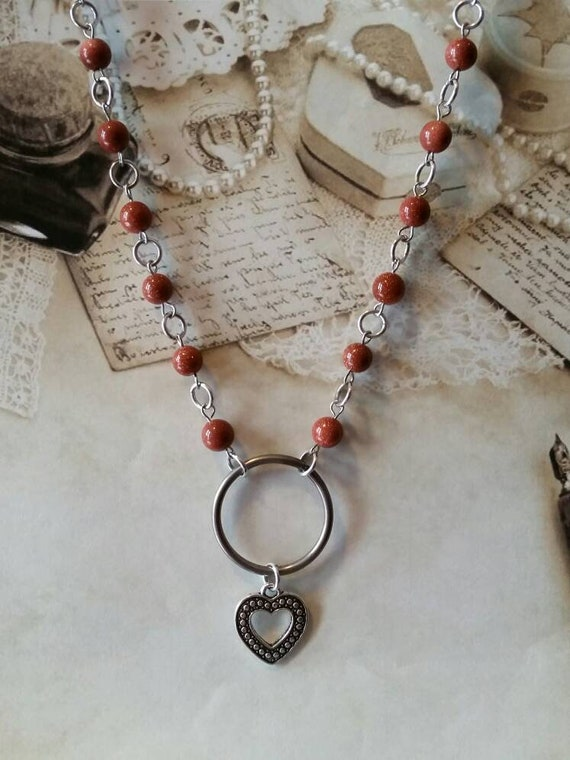 Heart day collar, Goldstone beads, discreet day collar, symbolic jewelry, BDSM collar, submissive collar,  stainless O ring, heart charm