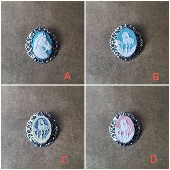 Cameo brooch or pendant, unicorn cameo, horse cameo, unicorn or horse cameo necklace, fantasy jewelry, LARP jewelry, silver-toned bezel
